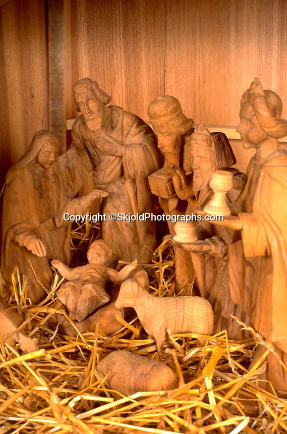 Carved Christmas Nativity scene. WesternSprings Illinois USA