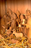 Carved Christmas Nativity scene. Western Springs Illinois USA