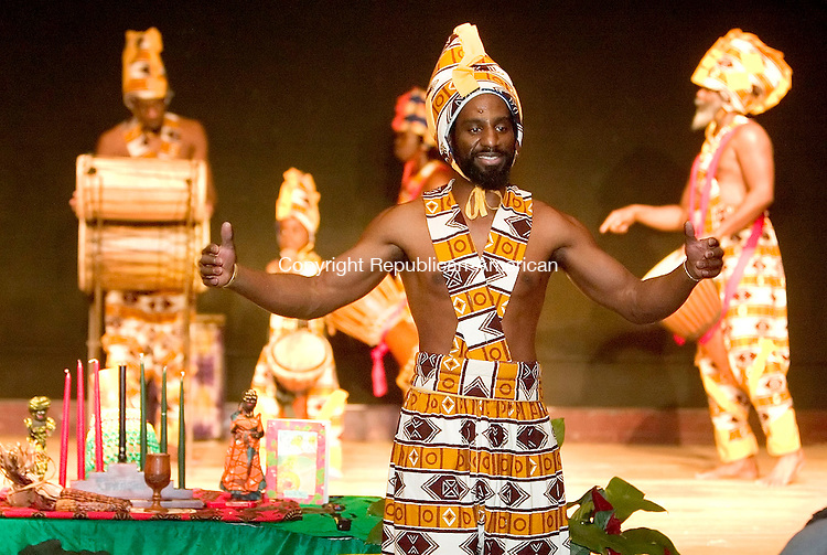 WATERBURY, CT- 30 DEC 06- 123006JT11- <br /> Kojo Bey of Sounds of Afrika begins the Kwanzaa performance at Mattatuck Museum in Waterbury on Saturday afternoon.<br /> Josalee Thrift Republican-American