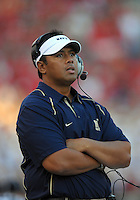 Navy head coach, Ken Niumatalolo reacts from the sidelines. Maryland defeated Navy 17-14 at the M&T Bank in Baltimore, MD on Monday, September 6, 2010. Alan P. Santos/DC Sports Box