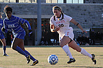 29 November 2013: Virginia Tech's Murielle Tiernan (20) and Duke's Natasha Anasi (4). The Virginia Tech University Hokies played the Duke University Blue Devils at Thompson Field in Blacksburg, Virginia in a 2013 NCAA Division I Women's Soccer Tournament Quarterfinal match. Virginia Tech won the game 3-0.
