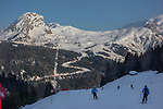 Skiers descending Col Rodella, Canazei, Dolomites, Italy, Europe 2014, .  John leads private ski trips to Front Range and Summit County Ski Areas in Colorado.