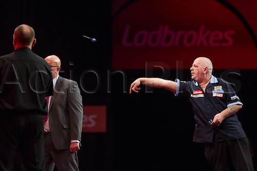 14.12.2012 London, England. Robert Thornton in action during the first round of the Ladbrokes World Darts Championships from Alexandra Palace.