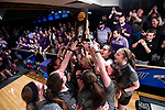 CLAYTON, MO - APRIL 14: Vanderbilt University hoists the national championship trophy after defeating McKendree University during the Division I Women's Bowling Championship held at Tropicana Lanes on April 14, 2018 in Clayton, Missouri. Vanderbilt University defeated McKendree University 4-3. (Photo by Tim Nwachukwu/NCAA Photos via Getty Images)