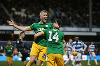 Preston North End's Jordan Storey celebrates scoring his side's second goal with Jayden Stockley<br /> <br /> Photographer Rob Newell/CameraSport<br /> <br /> The EFL Sky Bet Championship - Queens Park Rangers v Preston North End - Saturday 19 January 2019 - Loftus Road - London<br /> <br /> World Copyright © 2019 CameraSport. All rights reserved. 43 Linden Ave. Countesthorpe. Leicester. England. LE8 5PG - Tel: +44 (0) 116 277 4147 - admin@camerasport.com - www.camerasport.com