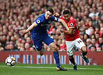 Michael Keane of Everton challenges Jesse Lingard of Manchester United during the premier league match at the Old Trafford Stadium, Manchester. Picture date 17th September 2017. Picture credit should read: Simon Bellis/Sportimage