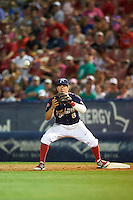 Reading Fightin Phils second baseman Brodie Greene (8) waits for a throw during a game against the New Britain Rock Cats on August 7, 2015 at FirstEnergy Stadium in Reading, Pennsylvania.  Reading defeated New Britain 4-3 in ten innings.  (Mike Janes/Four Seam Images)
