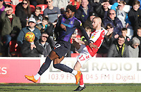 Fleetwood Town's Paddy Madden  battles with Luton Town's Pelly Ruddock <br /> <br /> Photographer Mick Walker/CameraSport<br /> <br /> The EFL Sky Bet League One - Fleetwood Town v Luton Town - Saturday 16th February 2019 - Highbury Stadium - Fleetwood<br /> <br /> World Copyright © 2019 CameraSport. All rights reserved. 43 Linden Ave. Countesthorpe. Leicester. England. LE8 5PG - Tel: +44 (0) 116 277 4147 - admin@camerasport.com - www.camerasport.com