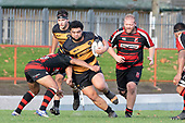 Coree Te Whata-Colley is tackled by MontyPunatai. Counties Manukau Premier Club Rugby game between Papakura and Bombay, played at Massey Park Papakura on Saturday June 16th 2018. Bombay won the game 36 - 17 after leading 17 - 7 at halftime.<br /> Papakura Ray White 17 - Kris Smithson 2, Taafaga Tagaloa tries, Monty Punatai conversion.<br /> Bombay 36 - Jordan Goldsmith, Haamiora Clarke 2, Patrick Masoe, Mitchell Thackham, Chay Mackwood tries, Jordan Goldsmith 2, Ki<br /> Anufe conversions.<br /> Photo by Richard Spranger.