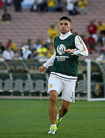 PASADENA - UNITED STATES, 07-06-2016: Daniel Torres jugador de Colombia (COL) calienta previo al encuentro del grupo A, fecha 2, con Paraguay (PAR) por la Copa América Centenario USA 2016 jugado en el estadio Rose Bowl en Pasadena, California, USA. /  Daniel Torres player of Colombia (COL) warm up prior a match of the group A date 2 against Paraguay (PAR)  for the Copa América Centenario USA 2016 played at Rose Bowl stadium in Pasadena, California, USA. Photo: VizzorImage/ Luis Alvarez /Str