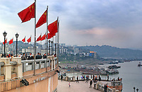 "Chaotianmen Square that overlooks the Chaotianmen Port area and ferry terminals and wharf. Chongqing is China's largest city and is often termed a ""super-city"". It is at the far shore of the 600 km long Three Gorges Dam and is the ""gateway to western China"". Large sums of money are being pumped into the  area and infrastructural projects and building development is ongoing..16-NOV-04"