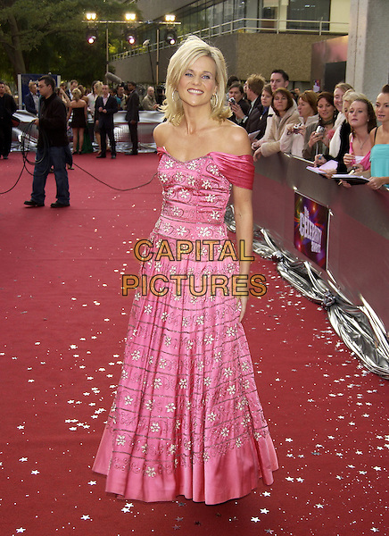 "LINDA BARKER.ITV's ""The Celebrity Awards"".London 26 September 2004.full length, pink floral print dress, off the shoulder.www.capitalpictures.com.sales@capitalpictures.com.©Capital Pictures"