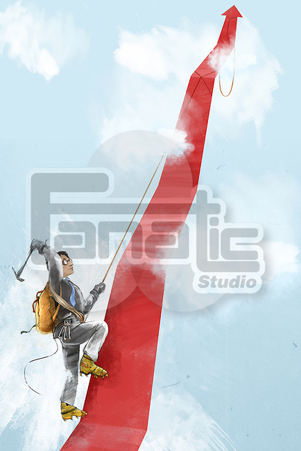 Man climbing red arrow in clouds depicting the concept of aspiration