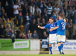 St Johnstone v Rosenborg....25.07.13  Europa League Qualifier<br /> Paddy Cregg and Steven MacLean celebrate at full time<br /> Picture by Graeme Hart.<br /> Copyright Perthshire Picture Agency<br /> Tel: 01738 623350  Mobile: 07990 594431