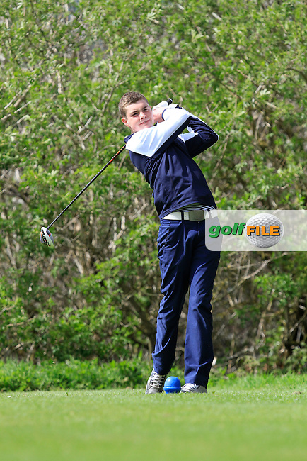 Nick Moore (Monkstown) on the 15th tee during Day 1 of The Munster Youths' Amateur Open Championship in Dungarvan Golf Club on Wednesday 23nd April 2014.<br /> Picture:  Thos Caffrey / www.golffile.ie