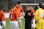 14 December 2007: Virginia Tech head coach Oliver Weiss (GER) (center) talks with players Craig Brutus (18), Robert Edmans (ENG) (15), James Shupp (4), Markus Aigner (GER) (26). The Wake Forest University Demon Deacons defeated the Virginia Tech University Hokies 2-0 at SAS Stadium in Cary, North Carolina in a NCAA Division I Men's College Cup semifinal game.
