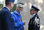 Nevada Adjutant General William R. Burks, left,  veteran Charles Sehe and Brett Palmer with the Northern Nevada Veterans Coalition talk before a ceremony at the U.S.S. Nevada Memorial on the Capitol grounds in Carson City, Nev., on Wednesday, Oct. 14, 2015. Sehe served on the U.S.S. Nevada during World War II. <br /> Photo by Cathleen Allison