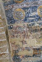 Europe/France/Midi-Pyrénées/09/Ariège/Vals: L'église - Peinture murale du XIIème - Les apôtres