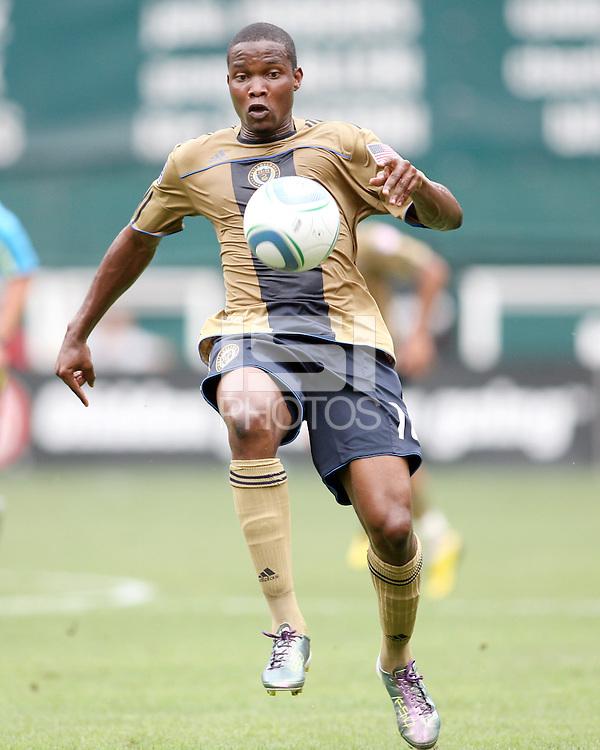 Danny Mwanga #10 of the Philadelphia Union during an MLS match against D.C. United at RFK Stadium on August 22 2010, in Washington DC. United won 2-0.