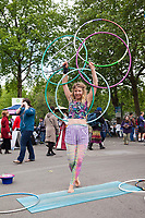 Hula hoop artist and street performer, Northwest Folklife Festival 2016, Seattle Center, Washington, USA.