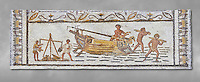 Late 4th century AD Roman mosaic depiction a harbour scene with men unloading and weighing goods. From Cathage, Tunisia.  The Bardo Museum, Tunis, Tunisia. Grey background