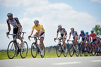 overall race leader (yellow jersey) Marcel Kittel (DEU/Giant-Shimano) escorted by his teammates in the peloton<br /> <br /> Ster ZLM Tour 2014