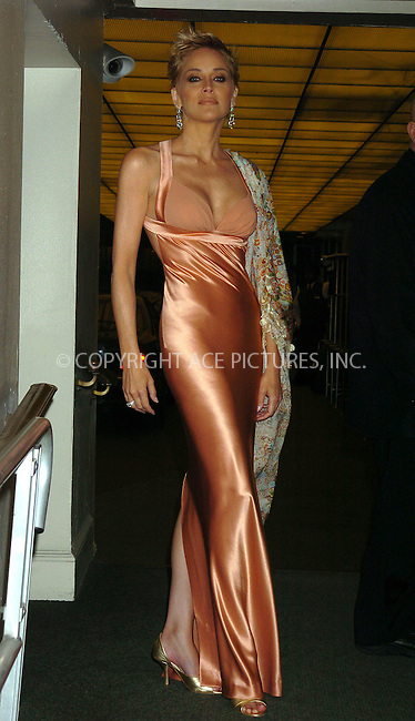 Actress Sharon Stone arrived at the Waldorf Astoria Hotel in New York City for the American Museum of the Moving Image 19th Annual Benefit saluting Richard Gere. April 20 2004. Please byline: AJ SOKALNER/ACE Pictures.   ..*PAY-PER-USE*      ....IMPORTANT: Please note that our old trade name, NEW YORK PHOTO PRESS (NYPP), is replaced by new name, ACE PICTURES. New York Photo Press and ACE Pictures are owned by All Celebrity Entertainment, Inc.......All Celebrity Entertainment, Inc:  ..contact: Alecsey Boldeskul (646) 267-6913 ..Philip Vaughan (646) 769-0430..e-mail: info@nyphotopress.com