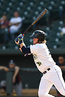 First baseman Dash Winningham (34) of the Columbia Fireflies bats in game one of a doubleheader against the Rome Braves on Saturday, August 19, 2017, at Spirit Communications Park in Columbia, South Carolina. Rome won, 8-2. (Tom Priddy/Four Seam Images)