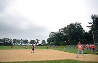 Kevin McGinley #23 hits the ball into play during the Miracle League Festival, a softball tournament for players with intellectual and physical challenges at George School Saturday June 20, 2015 in Newtown, Pennsylvania. (Photo by William Thomas Cain)