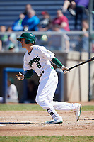 Beloit Snappers left fielder Luke Persico (8) follows through on a swing during a game against the Bowling Green Hot Rods on May 7, 2017 at Pohlman Field in Beloit, Wisconsin.  Bowling Green defeated Beloit 6-2.  (Mike Janes/Four Seam Images)