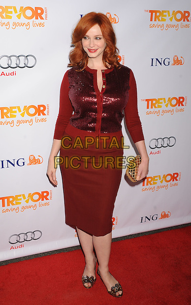 Christina Hendricks.Trevor Live at The Hollywood Palladium in Hollywood, California, USA..December 4th, 2011.full length maroon burgundy skirt clutch bag red sequins sequined cardigan.CAP/ROT/TM.©Tony Michaels/Roth Stock/Capital Pictures