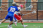 Orange, CA 03-05-17 - Daniel Aguilar (Chapman #41), Joe Lee (UCLA #22) and \lau\ in action during the UCLA - Champman Southern Lacrosse Conference MCLA Division 1 Men's Lacrosse game.