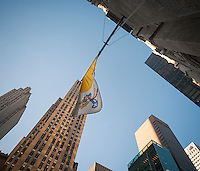 The Papal flag flies over St. Patrick's Cathedral on Fifth Avenue in New York on Tuesday, September 15, 2015. Pope Francis, the Holy Father, will pray at the Vespers Service in the Cathedral on Sept. 24th during his U.S. visit. In New York he will visit Central Park and lead a mass at Madison Square Garden. The Pope will be in the U.S. from Sept. 22 visiting Washington DC, New York and Philadelphia.  (© Richard B. Levine)