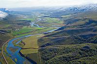 Finnastaðir og Melar séð til suðurs, Fnjósárdalur, Þingeyjarsveit áður Hálshreppur. /  Finnastadir and Melar viewing south Fnjoskardalur and river Fnjoska, Thingeyjarsveit former Halshreppur
