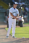 18 August 2012: Vermont Lake Monsters pitching coach Jim Coffman in the bullpen prior to a game against the Brooklyn Cyclones at Centennial Field in Burlington, Vermont. The Lake Monsters defeated the Cyclones 4-1 in NY Penn League action. Mandatory Credit: Ed Wolfstein Photo