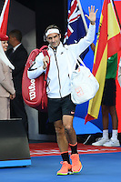 January 29, 2017: Roger Federer of Switzerland enters the court for the Men's Final against Rafael Nadal of Spain on day 14 of the 2017 Australian Open Grand Slam tennis tournament in Melbourne, Australia. Photo Sydney Low