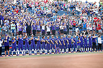 OKLAHOMA CITY, OK - JUNE 04: The Washington Huskies are introduced prior to the Division I Women's Softball Championship held at USA Softball Hall of Fame Stadium - OGE Energy Field on June 4, 2018 in Oklahoma City, Oklahoma. (Photo by Shane Bevel/NCAA Photos via Getty Images)