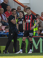 Bournemouth assistant manager Jason Tindall (left) give instructions to Bournemouth's David Brooks (right)  from the technical area<br /> <br /> Photographer David Horton/CameraSport<br /> <br /> The Premier League - Bournemouth v Fulham - Saturday 20th April 2019 - Vitality Stadium - Bournemouth<br /> <br /> World Copyright © 2019 CameraSport. All rights reserved. 43 Linden Ave. Countesthorpe. Leicester. England. LE8 5PG - Tel: +44 (0) 116 277 4147 - admin@camerasport.com - www.camerasport.com