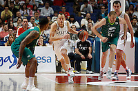01.04.2012 SPAIN - ACB match played between Real Madrid vs Unicaja  at Palacio de los deportes stadium. The picture show Sergio Rodriguez (Spanish point guard of Real Madrid)