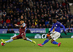 Kelechi Iheanacho of Leicester City has shot blocked by Tyrone Mings of Aston Villa  during the Premier League match at the King Power Stadium, Leicester. Picture date: 9th March 2020. Picture credit should read: Darren Staples/Sportimage