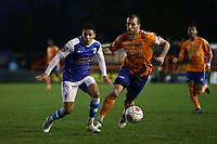Tyler Smith of Barrow and Joe Ellul of Braintree during Braintree Town vs Barrow, Vanarama National League Football at the IronmongeryDirect Stadium on 1st December 2018