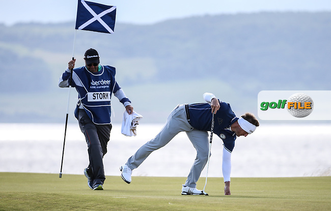 Pelle Edberg (SWE) completing the 6th green during Round One of the 2016 Aberdeen Asset Management Scottish Open, played at Castle Stuart Golf Club, Inverness, Scotland. 07/07/2016. Picture: David Lloyd | Golffile.<br /> <br /> All photos usage must carry mandatory copyright credit (&copy; Golffile | David Lloyd)