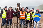 Terry O'Connor, Ger O'Connor, John Francis Flynn, Natasha O'Connor Ian O'Connor Amy Burke and jockey Fabio Neton with their horse You'll Never Find Out at the Rossbeigh races on Sunday