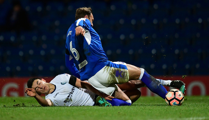 Wycombe Wanderers' Luke O'Nien vies for possession with Chesterfield's Ian Evatt<br /> <br /> Photographer Chris Vaughan/CameraSport<br /> <br /> The Emirates FA Cup Second Round - Chesterfield v Wycombe Wanderers - Saturday 3rd December 2016 - Proact Stadium - Chesterfield<br />  <br /> World Copyright &copy; 2016 CameraSport. All rights reserved. 43 Linden Ave. Countesthorpe. Leicester. England. LE8 5PG - Tel: +44 (0) 116 277 4147 - admin@camerasport.com - www.camerasport.com