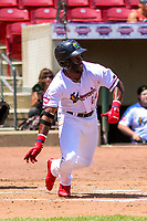 Cedar Rapids Kernels outfielder Akil Baddoo (24) races to first base during a Midwest League game against the Clinton LumberKings on May 28, 2018 at Perfect Game Field at Veterans Memorial Stadium in Cedar Rapids, Iowa. Clinton defeated Cedar Rapids 4-3. (Brad Krause/Four Seam Images)