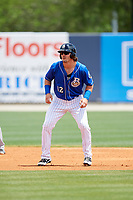 Biloxi Shuckers right fielder Clint Coulter (12) leads off second base during a game against the Jackson Generals on April 23, 2017 at MGM Park in Biloxi, Mississippi.  Biloxi defeated Jackson 3-2.  (Mike Janes/Four Seam Images)