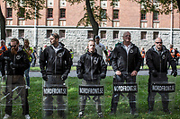 August 25, 2018: Supporters of the neo Nazi Nordic Resistance Movement NRM (Nordiska motståndsrörelsen) during a demonstration at the Kungsholmstorg square in Stockholm, Sweden. An estimate of 200 supporters of the neo-Nazi organisation held a six-hour rally guarded by a strong police deployment.