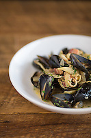 Mussels with pancetta, white wine and chili flake at The Boot in Durham, North Carolina on Saturday, January 17, 2015. (Justin Cook)