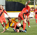 Alloa's David Cox challenges East Fife's Scott Durie.