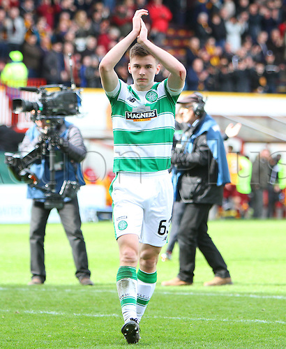 09.04.2016. Fir Park, Motherwell, Scotland. Scottish Football Premiership Motherwell versus Celtic. Kieran Tierney applauds the fans after the match